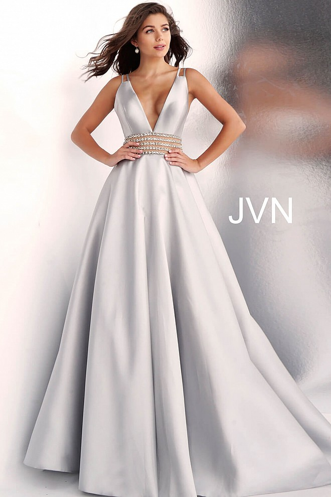 Silver Low V Neck A Line Prom Gown JVN63737