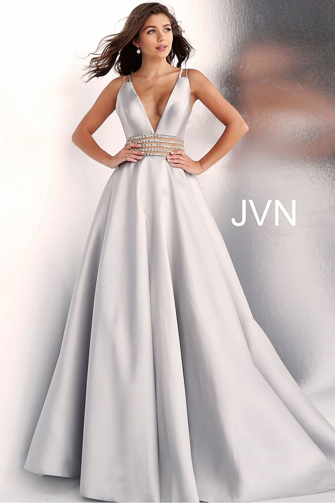 JVN63737 Silver Low V Neck A Line Prom Gown