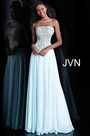 Jvn Light Blue Strapless Embroidered Bodice Prom Dress JVN63749