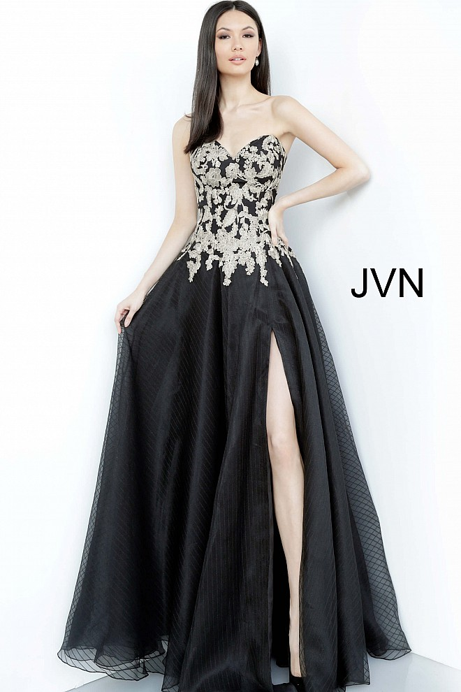 Black Gold Strapless Embroidered Prom Gown JVN64088