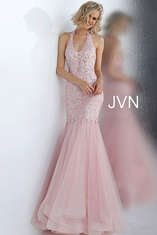 Blush Halter Neck Embroidered Mermaid Prom Dress JVN64106