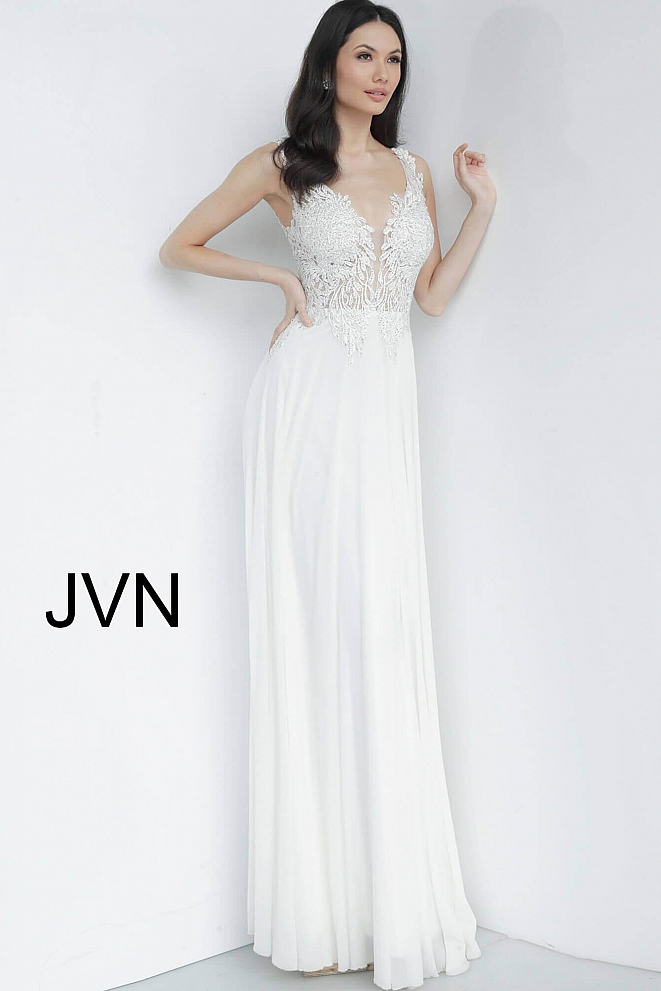 JVN64107 White Embellished Bodice Plunging Neck Prom Dress
