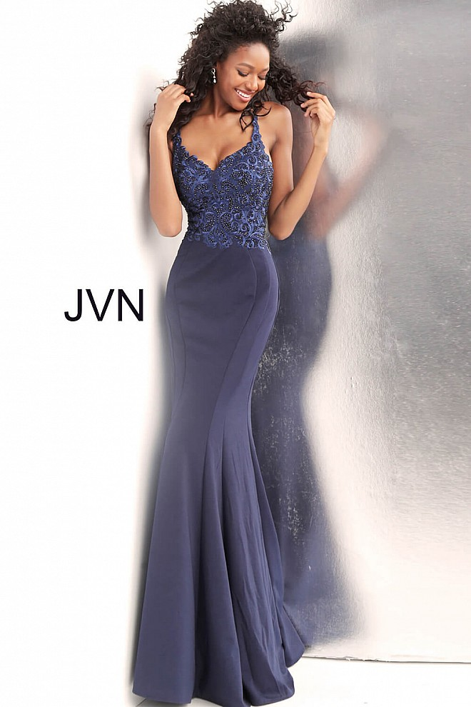 Navy Embroidered Bodice Criss Cross Back Prom Dress JVN64111