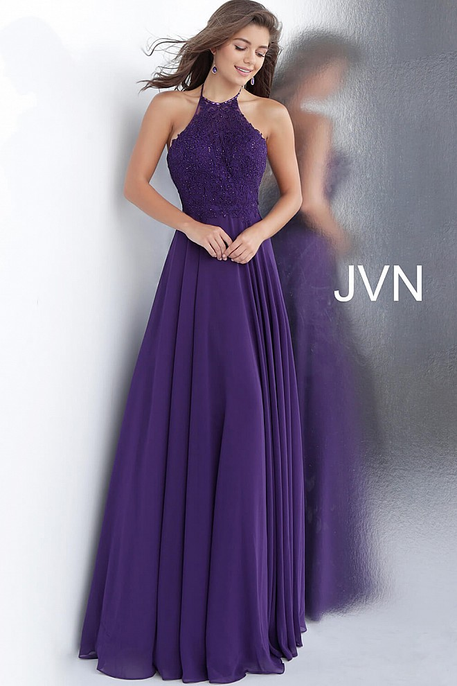 Purple Embroidered Bodice High Neck Prom Dress JVN64114