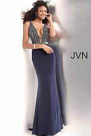 Navy Beaded Bodice Low V Neck Fitted Prom Dress JVN64153
