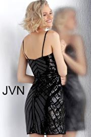 Gold Beaded V Neck Fitted Short Dress JVN64156
