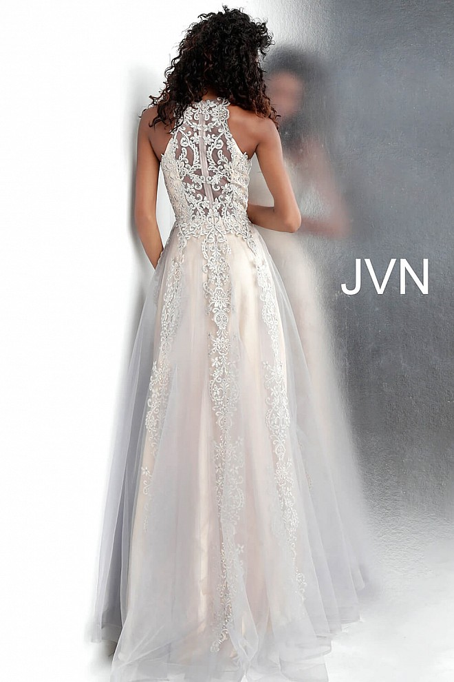 e91e7a6973b Embroidered Tulle High Neck Sleeveless A Line Prom Gown