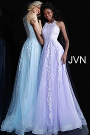 Jvn Sleeveless Embroidered A Line Prom Gown JVN64157