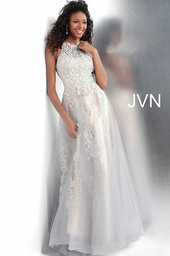 b28c94f447f ... ivory embroidered over tulle prom dress JVN64157 ...