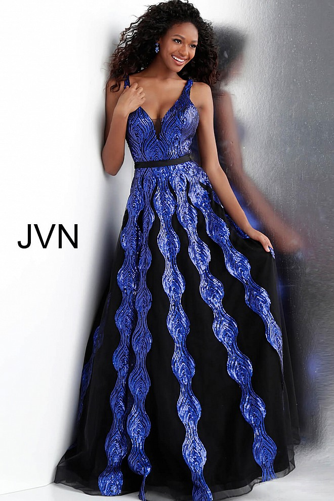 Jvn Black Royal Sequin Embellished A Line Prom Dress JVN64158  black royal  v back sleeveless prom gown jvn64158 ef05132d3