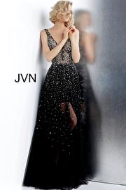 Jvn Black Backless Embellished Plunging Neckline Prom Gown JVN64196