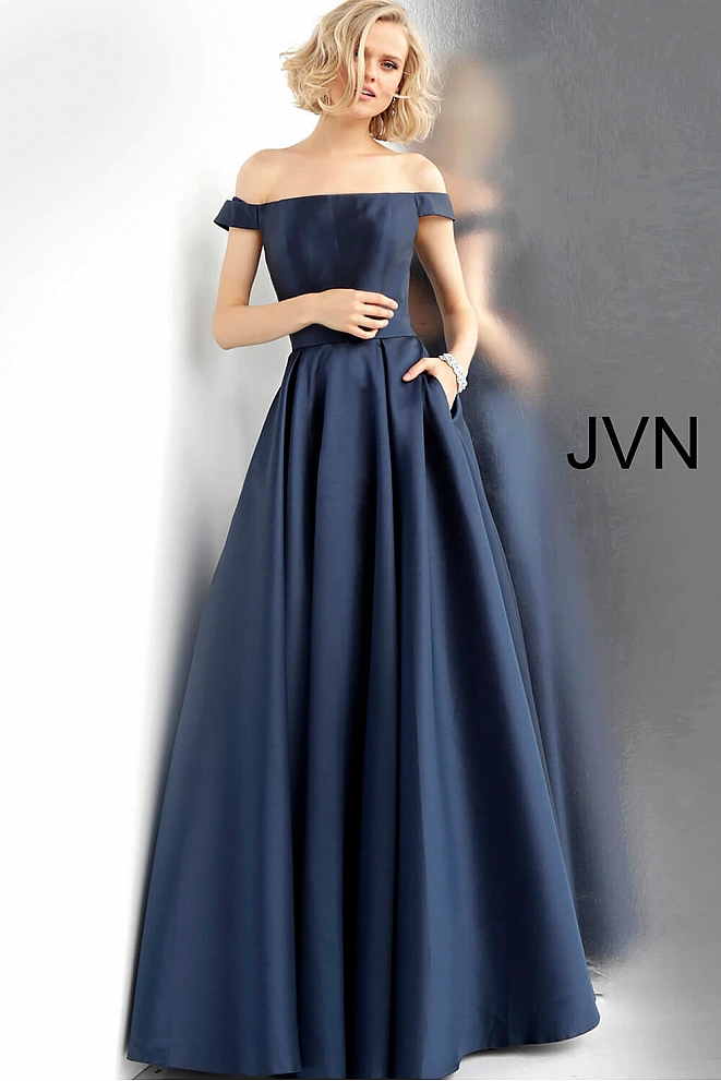 Navy Off the Shoulder Open Back Prom Gown JVN64231