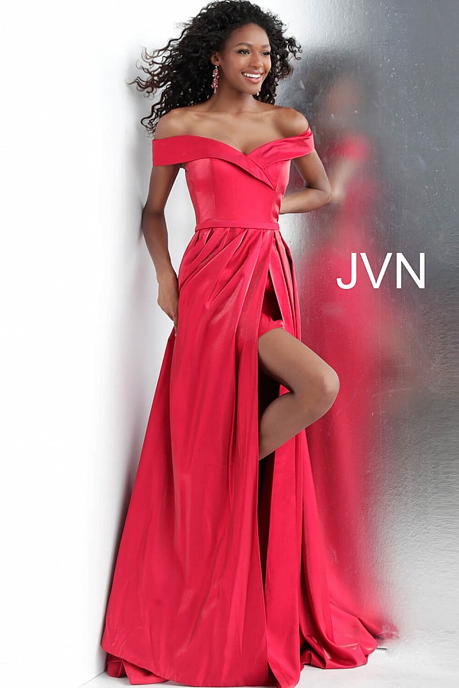 Red Off the Shoulder High Slit Prom Gown JVN64244