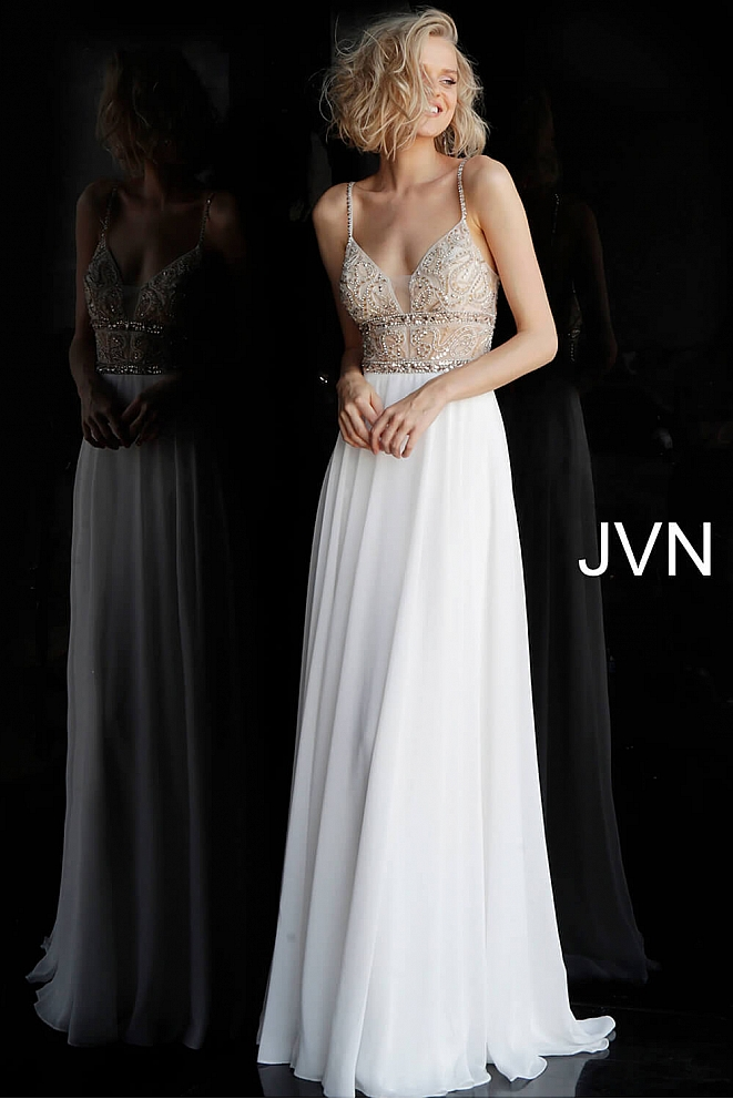 JVN64870 Off White Embellished Bodice Chiffon Dress