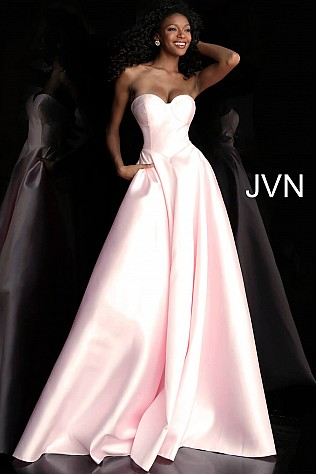 Pink Pleated Skirt Strapless Prom Ballgown JVN65433