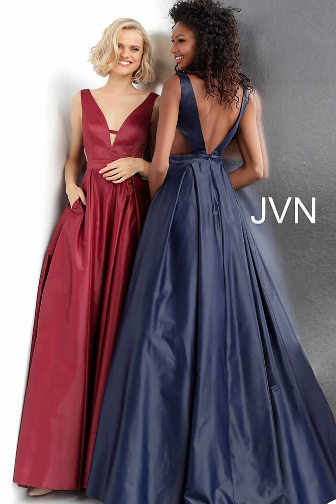 2f50fbd9260 Side Cut Outs Pleated Skirt V Back Prom Ballgown JVN65483