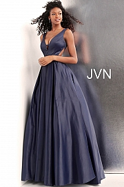 Side Cut Outs Pleated Skirt V Back Prom Ballgown JVN65483