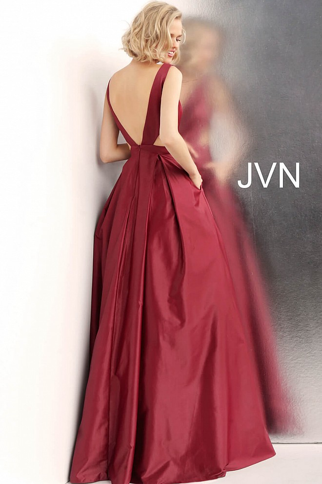 Side Cut Outs Pleated Skirt V Back Prom Ballgown JVN65483 5a2909737