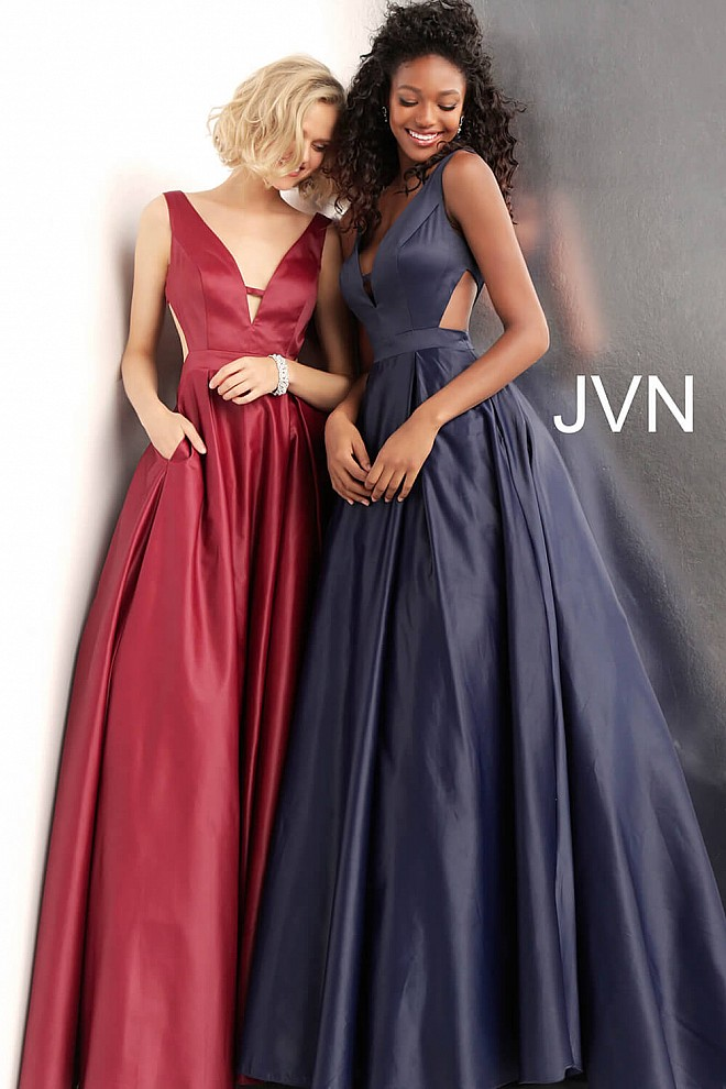 1d362cd153c Side Cut Outs Pleated Skirt V Back Prom Ballgown JVN65483