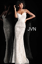 Jvn Ivory Nude Spaghetti Straps Embellished Prom Dress JVN65529
