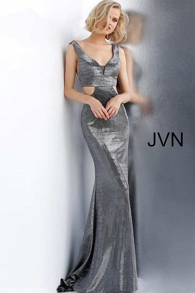 Gunmetal Side Cut Outs Fitted Metallic Prom Dress JVN65600