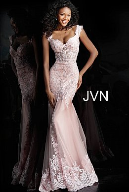 JVN65688 Blush Sweetheart Neck Embroidered Prom Dress
