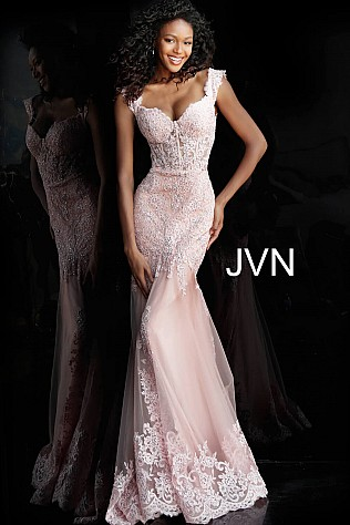 Blush Sweetheart Neck Embroidered Prom Dress JVN65688