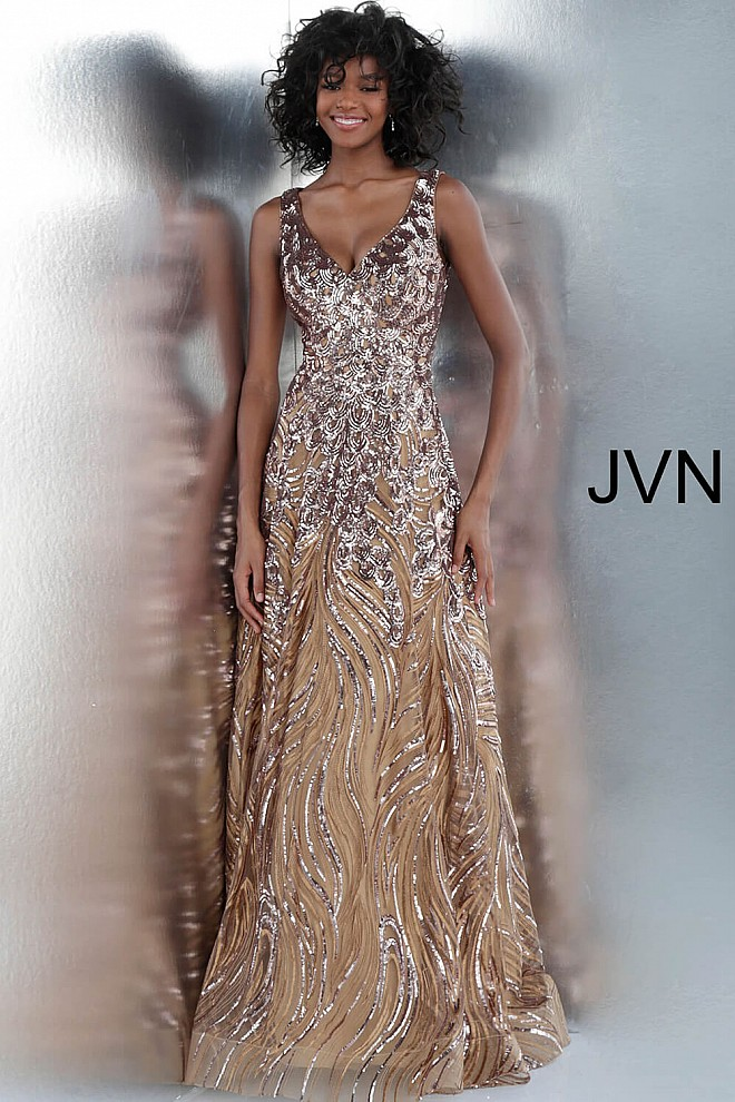 86ad4850931 Jvn Mocha Sequin Embellished V Neck A Line Prom Dress JVN65806 ...