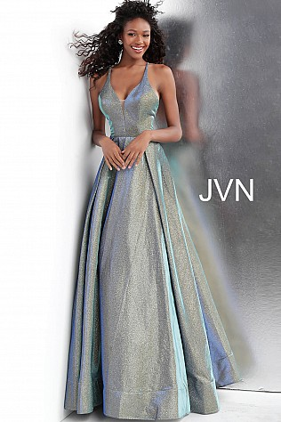 Green Blue Criss Cross Back A Line Prom Gown JVN65851