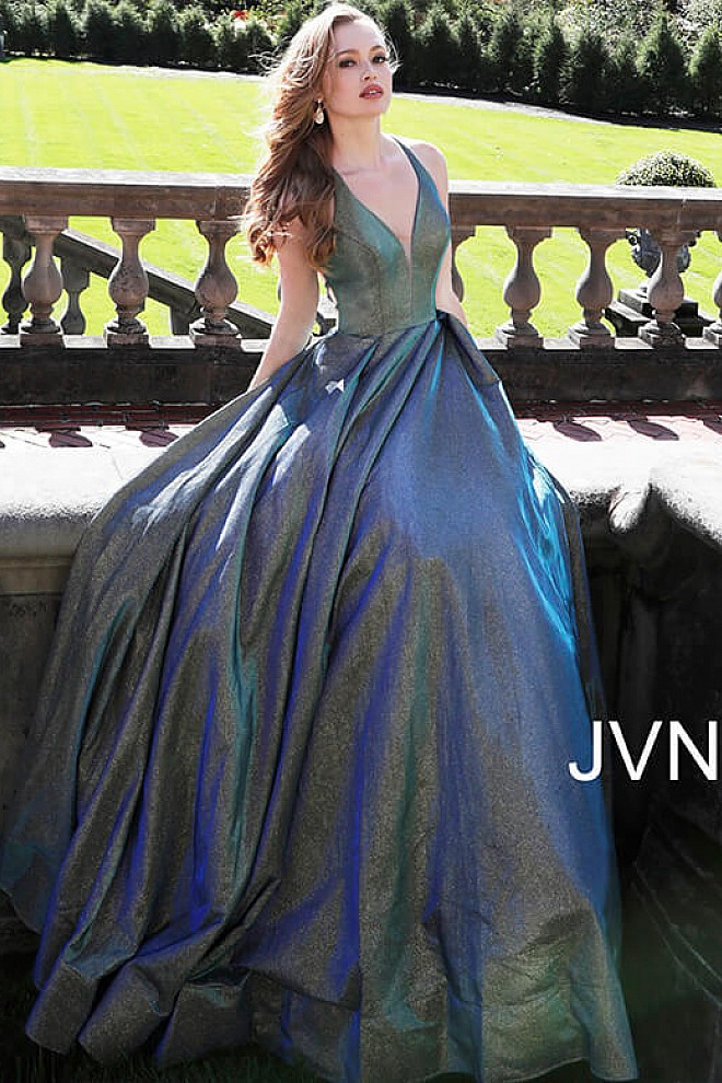 Green and Blue A line Bridesmaid Dress JVN65851
