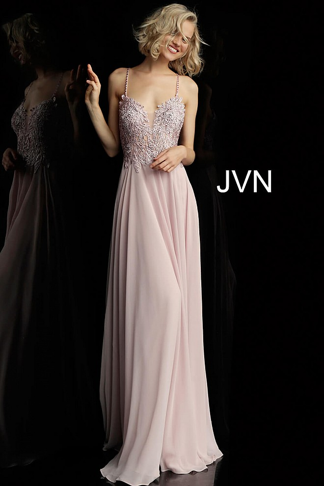Light Purple Embroidered Bodice Spaghetti Straps Prom Dress JVN65900