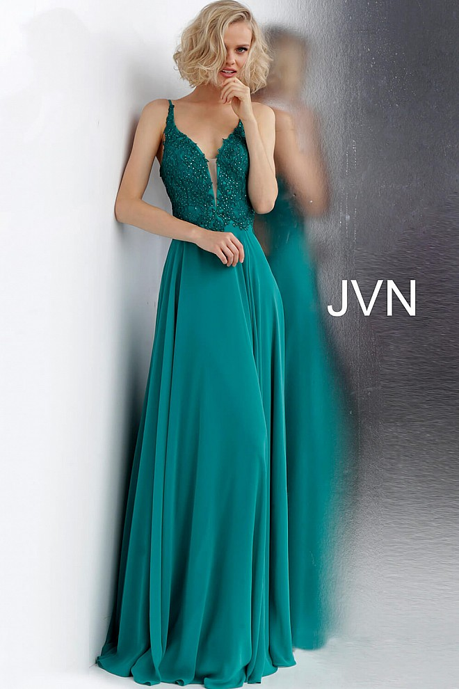Emerald Tie Back Plunging Neckline Prom Dress JVN65904