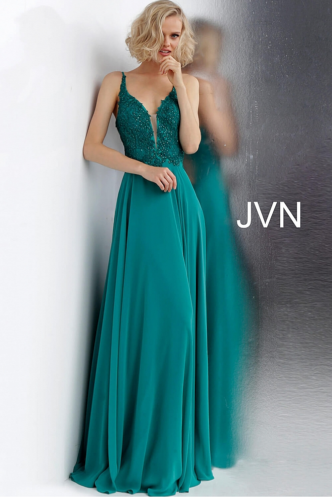 JVN65904 Emerald Tie Back V Neckline Prom Dress