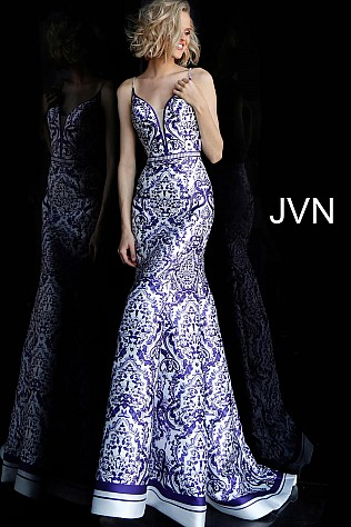 White Print Spaghetti Straps Mermaid Prom Dress JVN65906