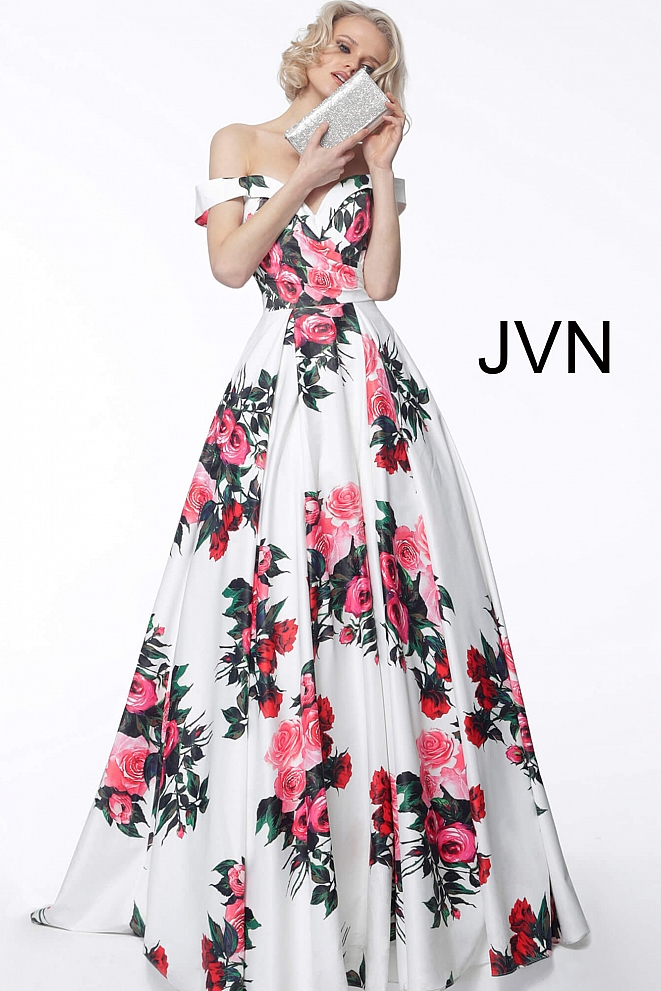 JVN65965 White Print Off the Shoulder Ruched Bodice Prom Gown