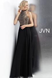 Jvn Black High Neck Embellished Bodice Prom Dress JVN65987