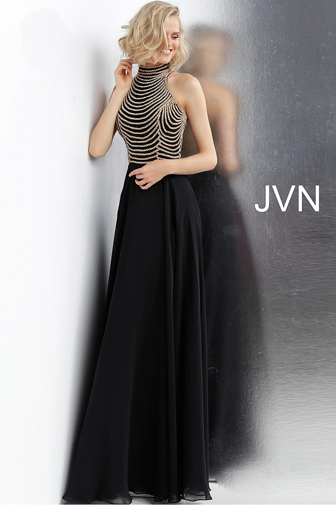 JVN65987 Black High Neck Embellished Bodice Prom Dress