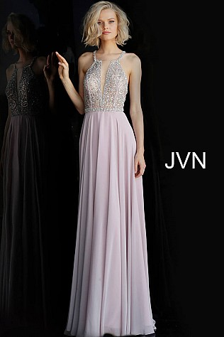 Dusty Lilac Beaded Bodice Criss Cross Back Prom Dress JVN66050