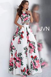 White Floral Print Two Piece Halter Neck Prom Ballgown JVN66058