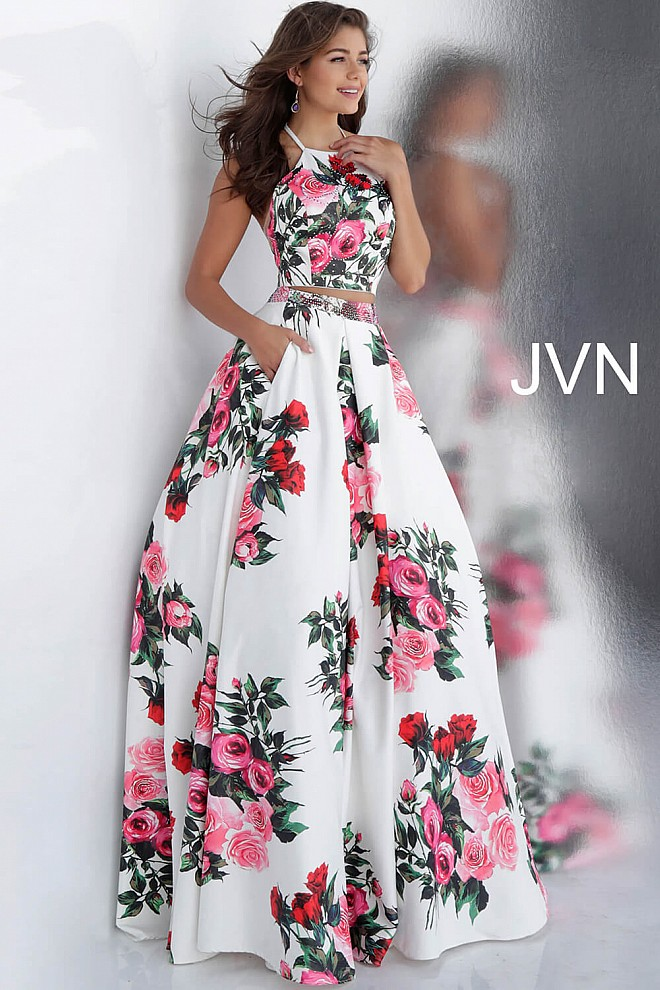 6753aad299839 White and Multi-Color Floral Print Halter Neck Crop Top Prom Ballgown
