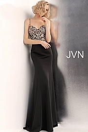 Jvn Black Embroidered Waterfall Back Prom Dress JVN66059