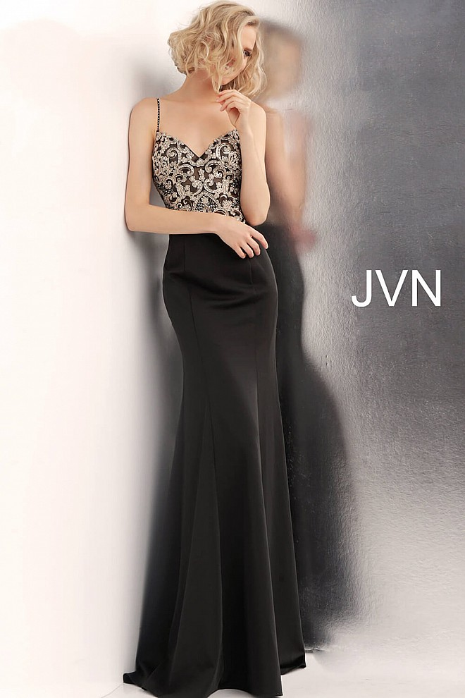 Black Embroidered Waterfall Back Prom Dress JVN66059