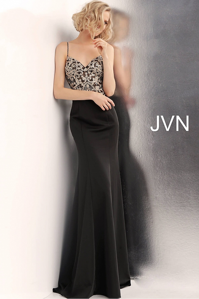 JVN66059 Black Embroidered Waterfall Back Prom Dress