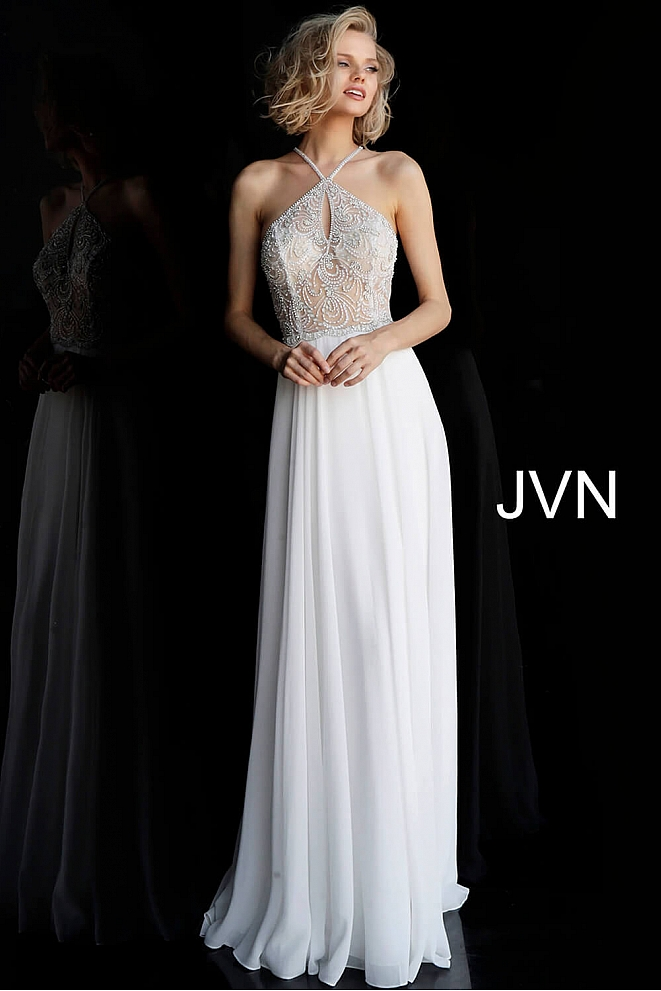 Off White Key Hole Neckline Chiffon Prom Dress JVN66065