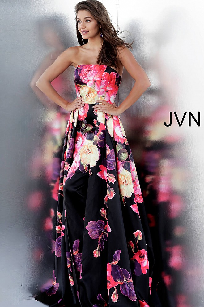 Floral Print Pleated Skirt Strapless Prom Dress JVN66076
