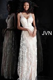 Jvn Blush Plunging Neckline Floral Appliques Prom Dress JVN66127