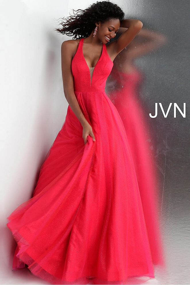 JVN66137 Red Plunging Neckline Sleeveless Prom Ballgown