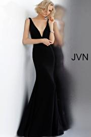 Jvn Black Plunging Neckline Fitted Sleeveless Prom Dress JVN66520