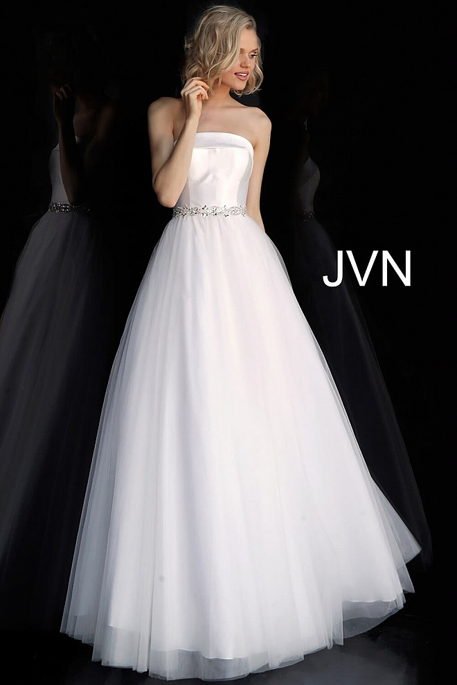 Off White Strapless Embellished Belt Prom Ballgown JVN66687