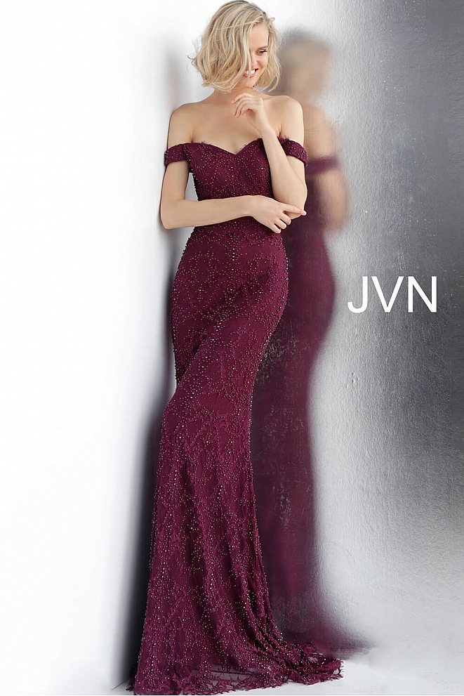JVN66695 Bordeaux Off the Shoulder Fitted Lace Prom Dress